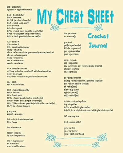 My Cheat Sheet Crochet Journal: 8 x 10 Lined 100 Page Ruled Project Builder Diary: Crocheter Notes, Writing, Doodles, Drawings and Supple List ... Ideas, Yarn and Abbreviations in One Place
