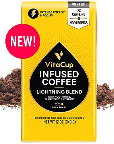 VitaCup Lightning Nootropic Ground Coffee | 2X Caffeine | Intense Energy Focus | Vitamin-Infused | Vegan | B1, B5, B6, B9, B12, D3 | for Drip Coffee Brewers & French Press, 12 oz bag