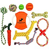 DoggyLush 10 Dog Toys. Ideal Dog Toys for Small Dogs and Puppy Toys from 8 weeks. Natural Dog Rope Toys included in this Dog Toy Bundle and 2 Natural Rubber Treat Balls. Set of Dog Toys for Boredom.