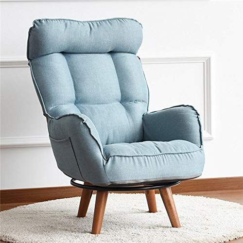 HJFGSAK Swivel Accent Arm Chair Home Living Room Furniture Reclining Folding Armchair Sofa Low Swivel Chair For,Blue color Recliner