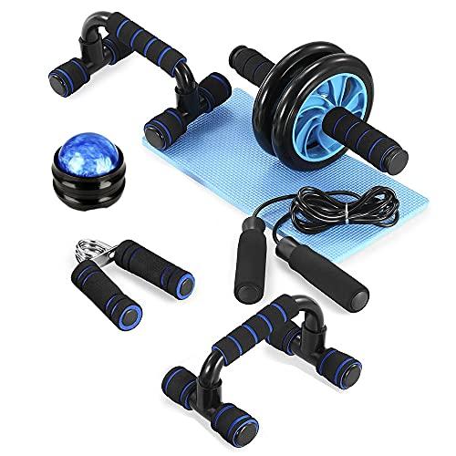 TOM SHOO 6-in-1 Fitness Workout Set - AB Wheel Roller Addominali +2 Maniglie per Flessioni + Corda per Saltare + Pinza Mano + Palla da Massaggio + Stuoia