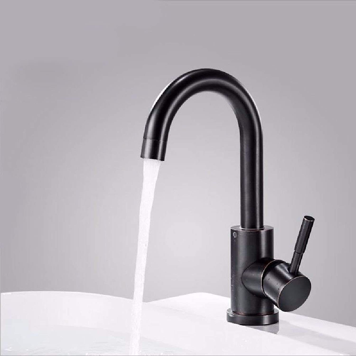 Oudan Basin Mixer Tap Bathroom Sink Faucet 304 stainless steel blackAntique can redate the hot and cold water faucets antique basin, B (color   B)
