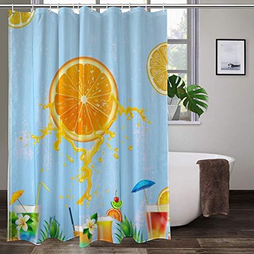 XCBN Cortinas de Ducha Dibujos Animados limón Naranja Impermeable Cortina de baño Tela mampara de baño decoración de bañera Cortinas de Ducha A4 180x200cm