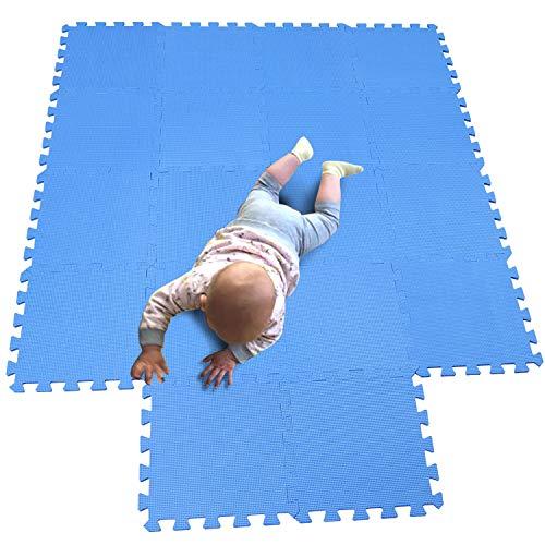 MQIAOHAM Esterilla Puzzle de Fitness-18 losas de EVA Espuma Alfombrilla Protectora Protección para el Suelo para máquinas de Deporte y gimnasios sobre el Piso Fácil de Limpiar Azul 107