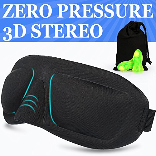 AMAZKER 3D Sleep Mask with 3D Nose Wing Designed for Anti Light Leak, Eye Mask Black Perfect for Day Sleeping or Napping with Earplugs and Pouch