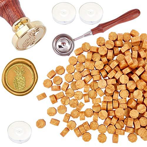 CRASPIRE Kit de Sello de Cera, Juego de Sellos de Cera Vintage con 200 Pieza de Perlas de Cera para Sellar, Cuchara de Fusión, Velas Blancas de 3 Pieza para Sellos, Sobres (Piña)