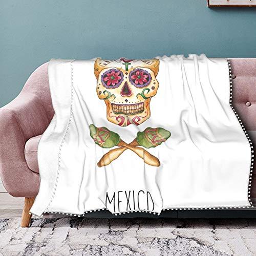 Nifdhkw Manta con Flecos de pompón Maracas de Calavera de azúcar de Acuarela de México para Camas Individuales, Mantas Suaves y cómodas