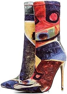 IWxez Botas de Moda para Mujer PU Poliuretano Botas de oto/ño Tac/ón Grueso Botines con Punta Cerrada//Botines Negro//Gris Marr/ón