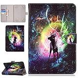 XTstore Universal Hülle für 8' Tablet, Flip Cover Case Schutzhülle für Fire HD 8,iPad Mini 4/3/2/1,Samsung Galaxy Tab S2 8.0, Huawei MediaPad T3 8/M5 8.4,Lenovo Tab3 8/Tab2 A8-50/Tab4 8 Plus, Hirsch