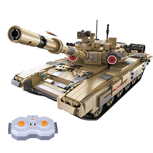 Vipo 1:10 Baustein Panzer DIY Ferngesteuert Panzer Modell RC T-90 Tank Bauset Baufahrzeug, 1722 Teile Kompatibel mit Lego Technik
