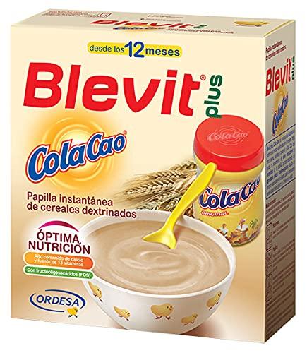 Blevit Plus ColaCao - Papilla de Cereales para Bebé con Calcio, Hierro y 13 vitaminas - Sabor Cola Cao - Desde los 12 meses - 600g