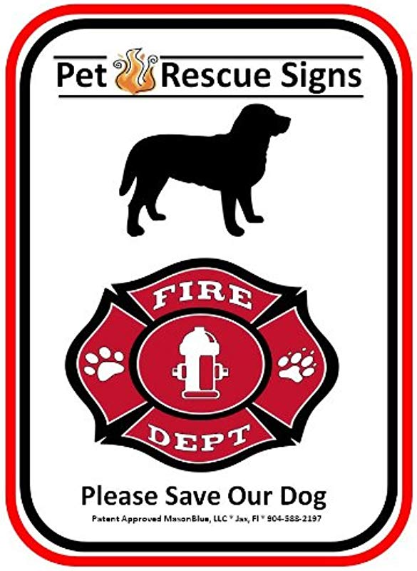 Pet Fire Rescue Sign Dog Aluminum Sign Reflective Film 9 X11 Fire Alert Sign 30 Pole Included
