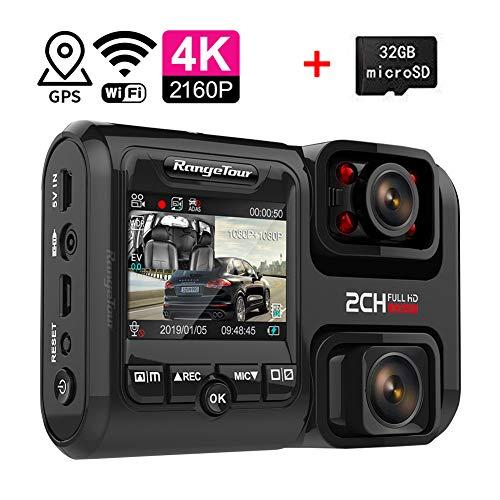 4 K dashcam, auto, wifi en GPS, dual autocamera voor en achter met nachtzicht & sony-sensor parkeermonitor & bewegingsdetectie, supercondensator voor parkeerbewaking, met 32 GB SD-kaart Met GPS.