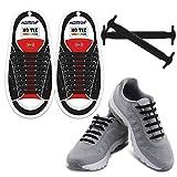 HOMAR Adult Elastic Athletisch Flat No Tie Schnürsenkel EIN für alle Mal Silicon Schnürsenkel Perfekt für Sneaker Stiefel Oxford und Freizeitschuhe – Schwarz