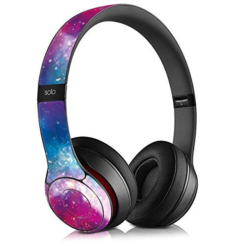 kwmobile Aufkleber Set kompatibel mit Beats Solo 2 - Overear Kopfhörer Sticker Zubehör für Headphones - Space Mehrfarbig Pink Schwarz
