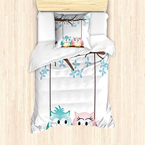 ABAKUHAUS Kinderkamer Dekbedovertrekset, Uilen in Liefde op Schommeling, Decoratieve 2-delige Bedset met 1 siersloop, 135 cm x 200 cm, Pale Pink Pale Blue