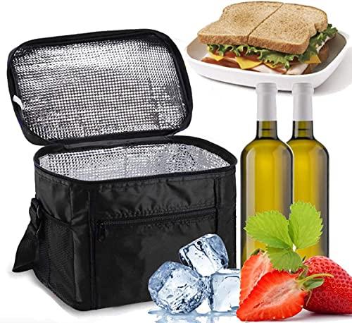Noete Bolsa de pícnic plegable térmica, bolsa isotérmica, bolsa para el almuerzo, con correa ajustable para el hombro para viajes, senderismo, barbacoas, fiestas (negro)