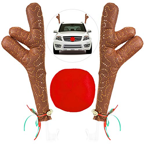 Unomor Weihnachts Rentier Auto Kostüm Set Dekoration Rote Nase Autoscheiben Dekorative