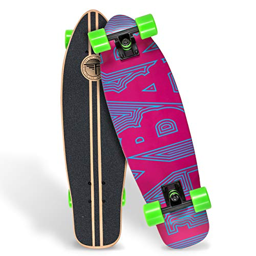 """Flybar Skate Cruiser Boards – 24"""" – 27.5 Strong 7 Ply Canadian Maple Complete Skateboards - 60mm PU Wheels with High Speed ABEC 9 Bearings"""