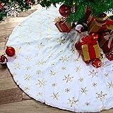 Kederwa 35 Inches Christmas Tree Skirt, Plush Luxury Faux Fur Xmas Tree Mat, Snowy Sequin Pattern Christmas Skirt for Xmas Ornaments Christmas Tree Decorations (White&Gold)
