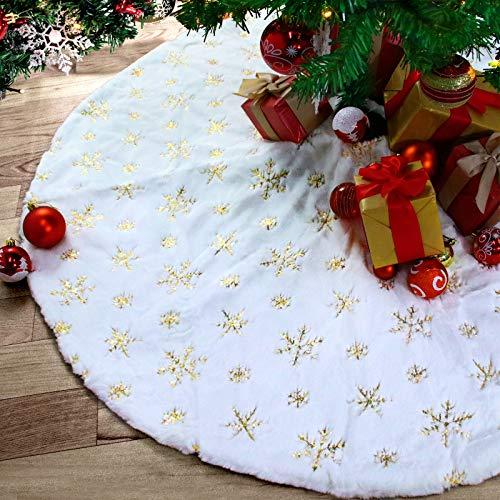 Rorchio Weihnachtsbaumdecke 90CM Weiß Plüsch Weihnachtsbaum Rock Plüsche Weiche Weihnachtsbaum Decke Christbaumständer Tannenbaumständer Abzudecken