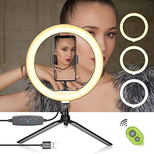 10 inch selfie ringlicht met statief en mobiele telefoonhouder voor live stream make-up mini led camera voor YouTube make-up video-opnamen