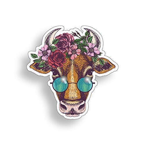 Sticker-Designs 15cm! Klebe-Folie Wetterfest Made-IN-Germany Cow Kuh-Stier-Kopf Peace Blumen bunt Power Hippie Sonnen-Brille Z46 UV&Waschanlagenfest Auto-Aufkleber Profi-Qualität! AUCH OHNE Rand!