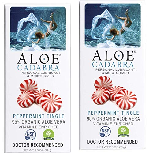 Pack of 2 Aloe Cadabra Organic Lubricant, Peppermint Tingle Flavored, 2.5 Ounce (5 ounce total) DR. RECOMMENDED to eliminate painful intercourse & menopause dryness EACH TUBE filled over 95% full of Moisturizing Aloe EDIBLE organic lubricant is condo...