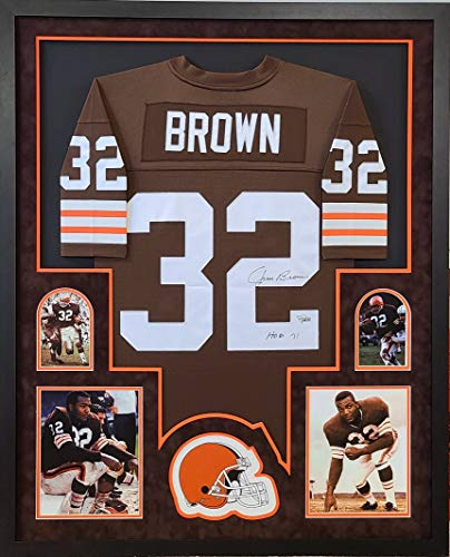 Jim Brown Cleveland Browns Autograph Signed Custom Framed Jersey SUEDE MATTED Hall of Fame Inscribed Fanatics Authentic Certified
