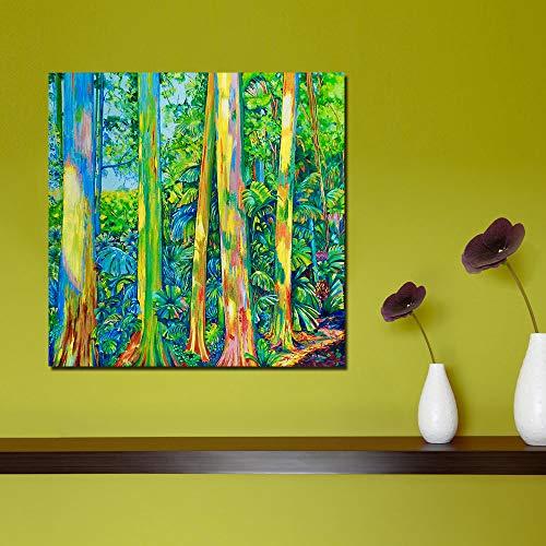 xinyouzhihi Colorido árbol Abstracto Imprimir Lienzo póster Cuadros Abstractos Pinturas al óleo sobre Lienzo Arte de la Pared decoración del hogar Pared 40x40cm Sin Marco