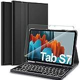 IVSO Samsung Galaxy Tab S7 Tastatur Hülle mit Panzerglas, [QWERTZ Deutsches], Schutzhülle mit abnehmbar Bluetooth Beleuchtete Tastatur für Samsung Galaxy Tab S7 (SM-T870/875) 11 Zoll 2020, Schwarz