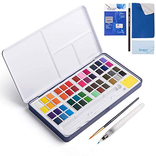 Watercolor Paint Set, 48 Color High Pigment Watercolor Paint, Vivid Color Cube, 2 Brush, Pencil, Mixing Palette, 8 Paper Sheet, Ideal for Kids, Beginner, Student