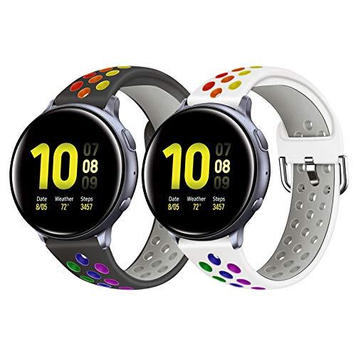 YPSNH Compatibile per Galaxy Active 2 Cinturino in Silicone Galaxy Active Cinturino Sport Regolabile 20mm Cinturino di Ricambio Bicolore per Samsung Galaxy Watch 3 41mm/Galaxy Watch 42mm/Gear Sport