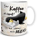 TRIOSK Pinguin Tasse Kaffee Kaputt mit Spruch lustig Coffee Geschenk für Arbeit Büro Frauen...