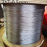 without brand 100M (diámetro 0,5 mm) de Acero Inoxidable 304 Cuerda de Alambre Alambre Cable más Suave Pesca de elevación por Cable 7X7 Estructura (tamaño : 0.5mm 100M)