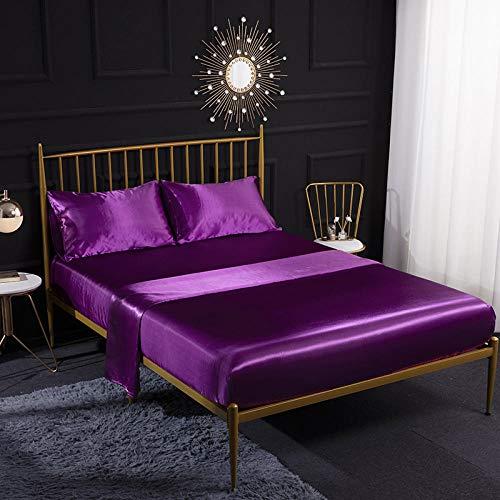 Juego de cama de satén de seda, bolsillos profundos, sedoso color sólido súper suave de doble cara sexy sábana de satén de seda imitación traje de cuatro piezas-Azul violeta_198x203cm + 35cm (4pcs)