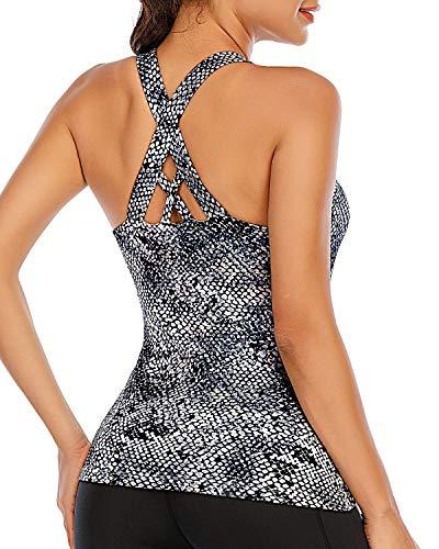 Camiseta deportiva para mujer con sujetador integrado, para yoga, fitness, sin mangas, Mujer, Gris Snake Print #50, large