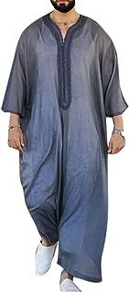 keepwo Men Moroccan Robe Desert Dress Dress Arabia Mens Long Shirts Printing Middle East Robes