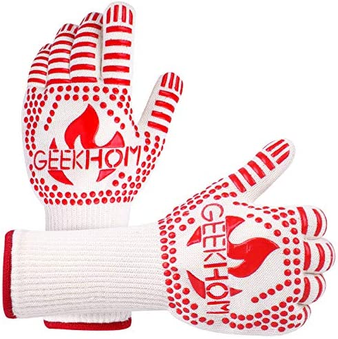 GEEKHOM Grilling Gloves 1472 Heat Resistant BBQ Grill Gloves EN407 Certified 13 Inch Oven Gloves product image