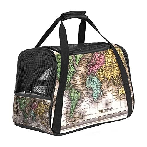 Portador de gatos, transportador de viaje para gatos y perros, perrito, cómodo, portátil, plegable, para mascotas, mapa aprobado por aerolíneas