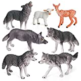 Wolf Toys Figures Animal Toys VOLNAU 7PCS Wolf Figurines Zoo Pack for Toddlers Kids Christmas Birthday Gift Preschool Educational Sheep Wolf Jungle Forest Animals Sets