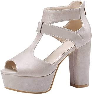 MisaKinsa Women Elegant Block High Heel Sandals Shoes