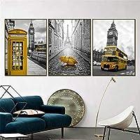 """北欧黄色の電話ブースバス白黒都市ポスターとプリント壁アート写真リビングルームホームオフィス装飾19.6""""x 27.5""""(50x70cm)x3フレームなし"""