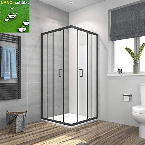 Duschkabine Eckeinstieg 90x90cm Duschabtrennung Schiebetür, Duschwand Glas Duschtür 6mm ESG Sicherheitsglas mit Nano-Beschichtung Höhe 195cm Schwarz Rahmen