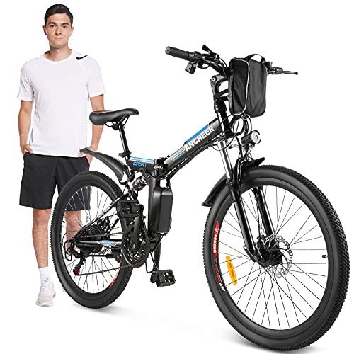 ANCHEER 26' Bicicletta elettrica pieghevole Mountain bike elettrica e-bike 36V/8Ah Batteria al litio rimovibile/Sedile e maniglia regolabili/Carico massimo: 120 kg (Nero)