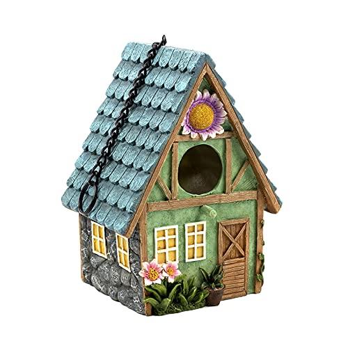 HanOBC Casa de pájaros de resina decorativa para colgar, casa de granja de Bluebird, casa de jardín decorativa para pájaros salvajes, colibrí cardenal pinzón Bluebird