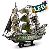 CubicFun 3D Puzzles for Adults Halloween Decorations Green LED Flying Dutchman Pirate Ship Model Kit, Halloween Lights Ghost Ship 3D Puzzle, Halloween Decor Birthday Gifts for Women Men, 360 Pieces