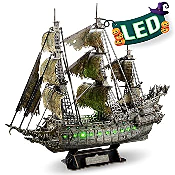 CubicFun 3D Puzzles for Adults Halloween Decorations Green LED Flying Dutchman Pirate Ship Model Kit Halloween Lights Ghost Ship 3D Puzzle Halloween Decor Birthday Gifts for Women Men 360 Pieces