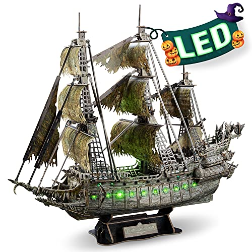 CubicFun 3D Puzzles for Adults Halloween Decorations Green LED Flying Dutchman Pirate Ship Model...
