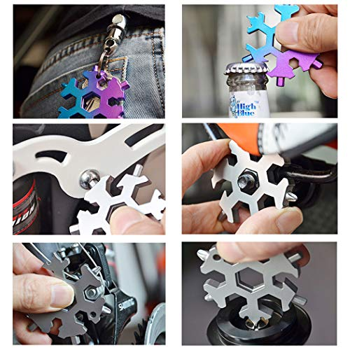 No Touch Door Opener Hand Tool - 18 in 1 Snowflake Multi-tool, Screwdriver -Bottle opener,Outdoor Wrench Multi-tool STANDARD/METRIC Snowflake Wrench Cool gadgets,Great Christmas gift, Father'day Gift